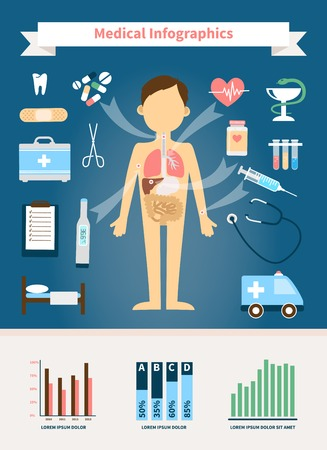 Healthcare and Medical Infographics. Human figure with internal organs and medical devices Vector