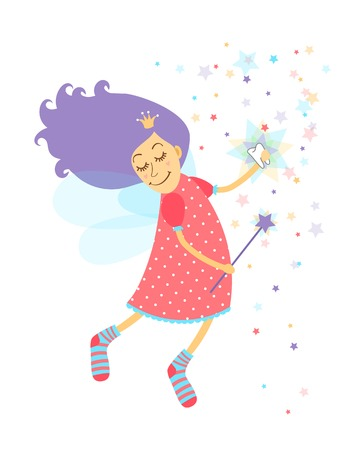 star wand: Tooth fairy with a happy smiling face and serene expression holding a tooth as she waves her magic wand releasing stardust as she grants the child a wish  vector illustration Illustration