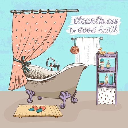 productos de aseo: Limpieza de buen concepto de salud que muestra un cuarto de baño interior con una bola de época y bañera garra cortina de la ducha y los estantes que contienen artículos de tocador para la higiene personal ilustración vectorial