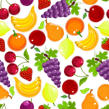 rainbow colours: Fresh fruits and berries seamless pattern in the colours of the rainbow with grapes  orange  lemon  cherry  strawberry  plum  banana  pear and apple  vector illustration in square format Illustration