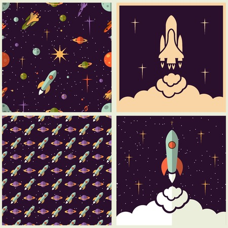 spaceflight: Planets, rockets and stars backgrounds set in different styles