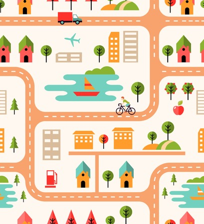 City map seamless background pattern with streets  housing icons  cyclist  park  airport  lake with boats  fuel pump  high-rise buildings and apartments in a square format vector illustration Vector