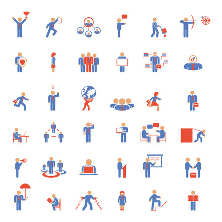 perseverance: Large set of 36 businessmen icons in different poses both single people  and in meetings and groups depicting business  career and management  blue and red vector illustrations Illustration