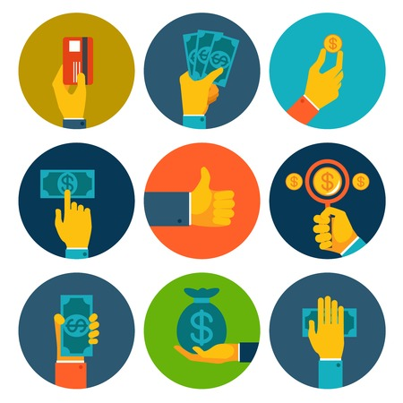 Set of nine different colorful money in hands icons with dollar notes  bills  coins  bank card and money bag  conceptual of finances  payment  purchase and investment