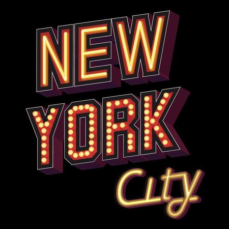 イルミネーション サイン、ネオン効果または暗い背景に個々 の電球のパターンでフォントが少しの形でニューヨーク市レタリング角度ベクトル イ
