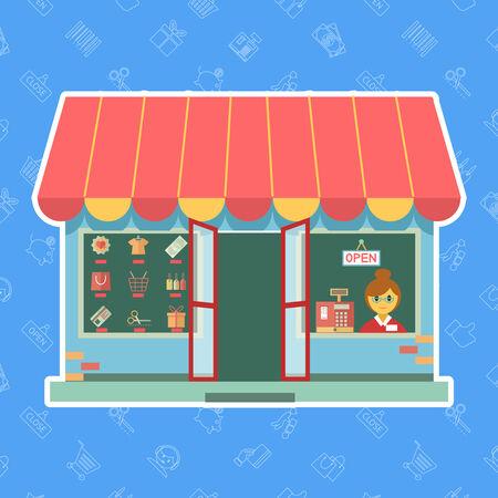 window open: Escaparate Vector o tienda con un asistente de ventas o un cliente mirando a trav�s de la ventana al lado de una caja registradora y mercanc�a expuesta en la otra ventana abierta para los negocios en un concepto de comercio Vectores
