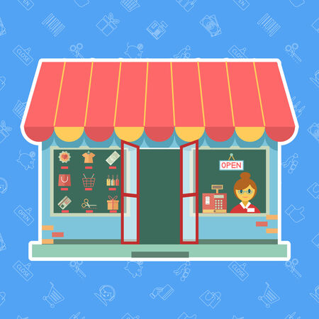 shop assistant: Vector shop front or store with a sales assistant or customer looking through the window alongside a till and merchandise on display in the other window  open for business in a commerce concept Illustration