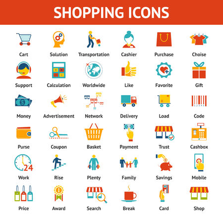 Colored Shopping Icons. Marketing and distribution, choices and transportation Vector
