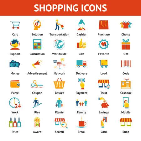 Colored Shopping Icons. Marketing and distribution, choices and transportation Ilustração