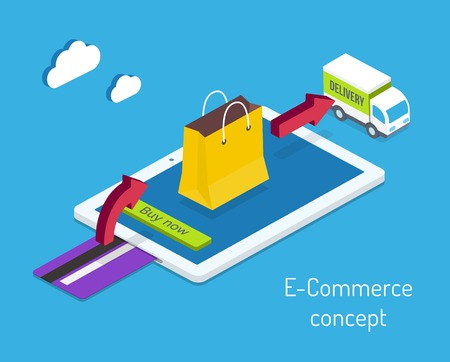 E-commerce or internet shopping concept with a credit card for payment and an arrow pointing to a shopping bag on a tablet computer screen leading to a delivery truck  vector illustration Vector