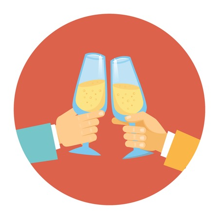 clinking: Vector illustration in a round icon of two men wearing suits toasting with elegant glasses of sparkling bubbly champagne to celebrate a success  partnership or special event