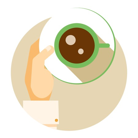 energising: Coffee cup circular icon showing an overhead view of a hand holding a cup of strong aromatic energizing espresso coffee for a relaxing coffee break