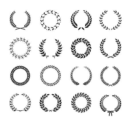 circulaire: Ensemble de couronnes noir et blanc silhouette circulaire feuillages de laurier et de bl� repr�sentant une r�alisation h�raldique noblesse d'attribution et la classiques illustration vectorielle Illustration