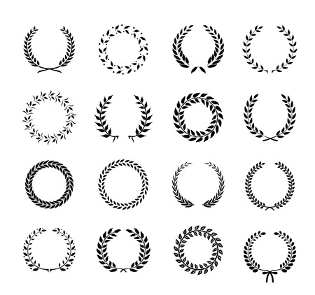 wheat illustration: Set of black and white silhouette circular laurel  foliate and wheat wreaths depicting an award  achievement  heraldry  nobility and the classics  vector illustration