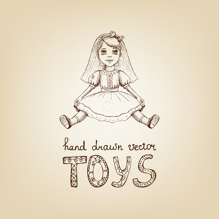 dolly: Hand-drawn sepia outline aged illustration of a vintage toy doll with long hair wearing a pretty frock above handwritten lettering - Toys  vector illustration Illustration