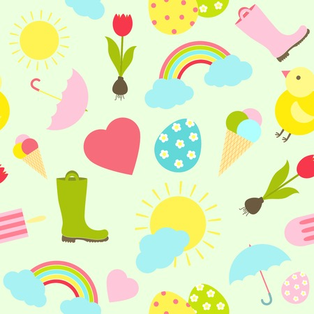 Colorful fresh Spring vector seamless background pattern with weather icons such as gumboots  umbrellas  sun  sunshine  clouds and a rainbow with Easter Eggs  easter chick  tulips and ice cream cones Vector