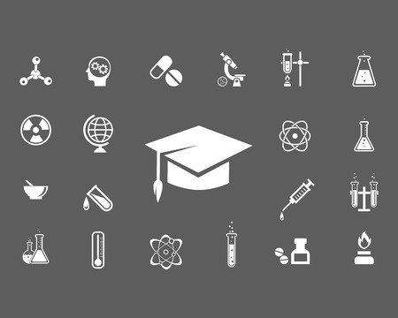 evaporating: Set of trendy science icons with a central mortarboard hat surrounded by laboratory glassware  microscope  globe  radiation icon  atom  syringe  thermometer and pestle and mortar  vector illustration Illustration