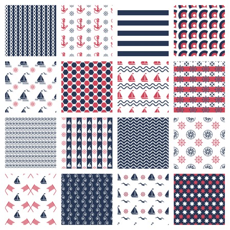 set of nautical or marine seamless patterns with boats, anchors, chains and waves Illustration