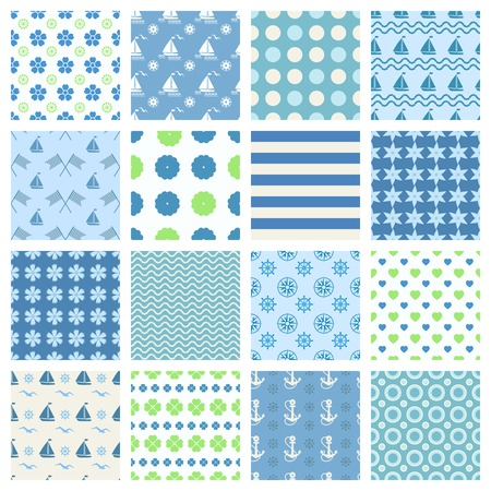 Set of marine seamless patterns with boats and sea theme