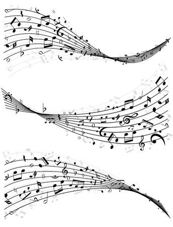 pentagrama musical: Conjunto de tres diferentes líneas onduladas o varas de notas de música dispersas al azar en vector illutrsation blanco y negro