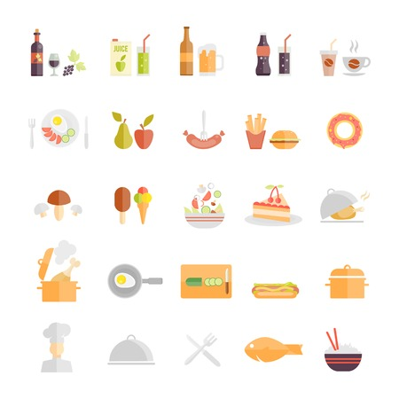 rice wine: Large set of food and beverage icons with wine  beer  fruit juice  soda  coffee  sausage  fruit  takeaways  mushroom  lolly  salad  cake  roast  stew  egg  hotdog  chef  dome  fish  rice and cutlery