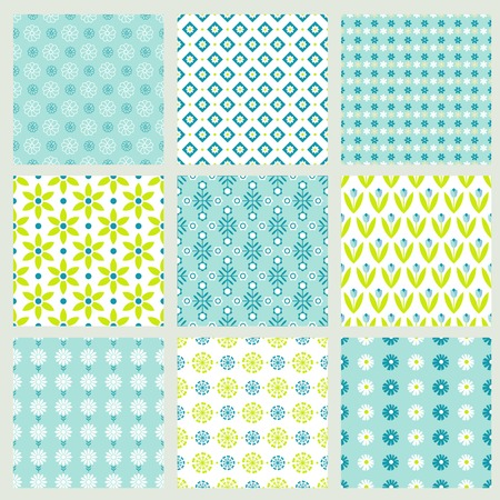 vector green spring floral patterns for trendy backgrounds Vector