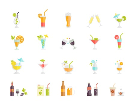 Large set of colorful vector icons of festive party tropical cocktails and alcoholic beverages and drinks such as beer juice coffee wine and champagne on white