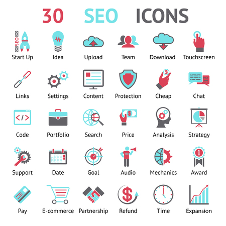 named: vector 30 assorted SEO icons in red  black and blue each labeled underneath as to what the icon represents in optimising the search engine on a computer website  vector illustration