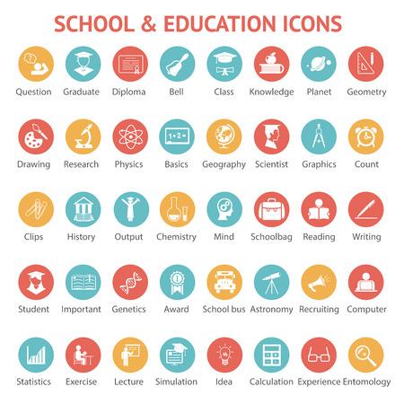 graduacion escolar: Amplio conjunto de 40 iconos de la escuela de colores de la universidad de la universidad y de educaci�n diferentes en los botones redondos web cada una etiquetada abajo para mostrar lo que representa la ilustraci�n vectorial