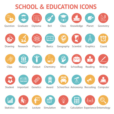 round icons: Large set of 40 different colorful school   college  university and education icons on round web buttons each labeled below to show what it represents  vector illustration