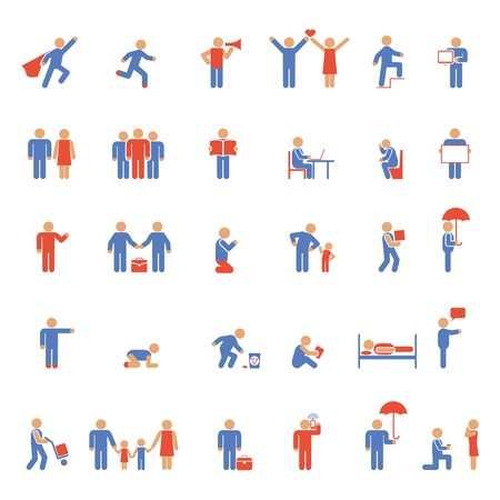 Vector colorful people icons. Rest, work and family Vector