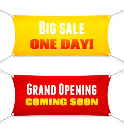 hanging on: Two colorful red and yellow rectangular textile banners suspended from the corners by ropes with slogans. Big Sale  Opening Soon. Grand Opening  Coming Soon  vector illustration Illustration