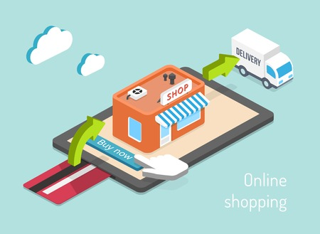 online payment: Online shopping. Purchase, payment and delivery 3d vector infographics