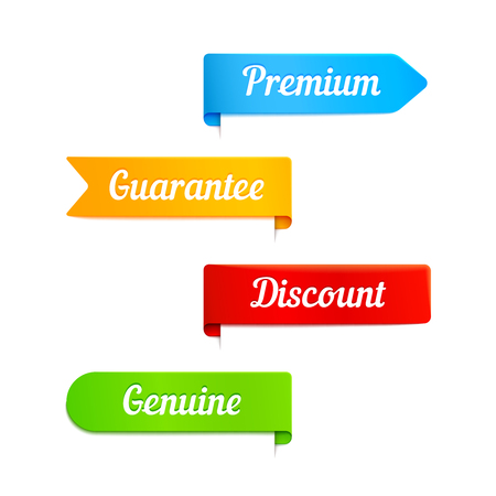 ribbons vector: Vector ribbons banners with slogans guarantee, premium and discount Illustration