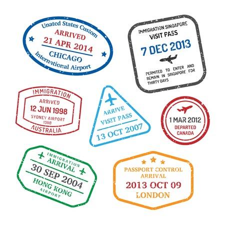 official: International business travel visa stamps set   Illustration