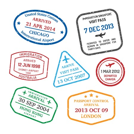 International business travel visa stamps set   Illustration