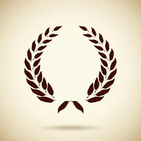 Vector silhouette foliate circular laurel wreath depicting an award  achievement  quality  winner  heraldry or the classics in square format with corner vignettes in sepia