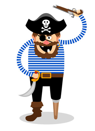 menacing: Stereotypical vector pirate on a white background with a wooden peg leg  one eye and a skull and crossbones on his hat wielding a cutlass and pistol