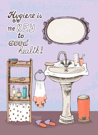 wash basin: Hygiene is a key to good health - motivational message on the wall of a bathroom interior with a hand basin below a wall mirror  and shelves containing toiletries for washing and personal cleanliness Illustration
