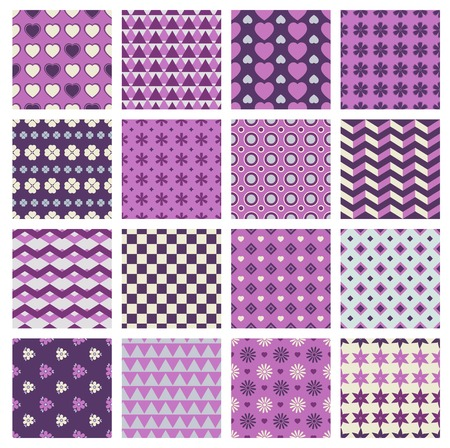 lilac background: vector set of 16 seamless patterns with flowers and hearts Illustration