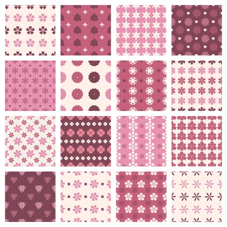 set of seamless patterns in vintage floral style