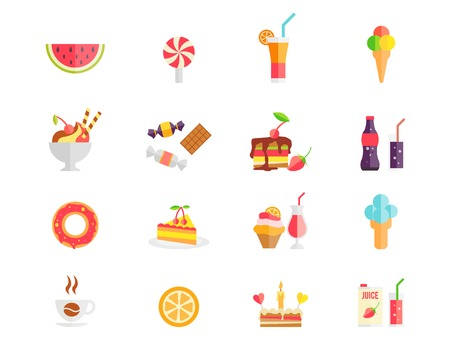Set of colorful sweets  desserts and cakes icons with watermelon  ice cream cones  lollipop  sundae  parfait  candy  cookies  soda  doughnut  tart  cupcake  coffee  orange  birthday cake  and juice Vector