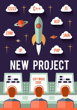 inauguration: Programmers are launching new web or app startup project Illustration