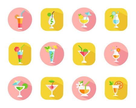 aperitif: Set of icons of tropical cocktails on colorful web buttons with cocktails in different shaped glasses garnished with a variety of fruit symbolic of a vacation or celebration vector illustration Illustration
