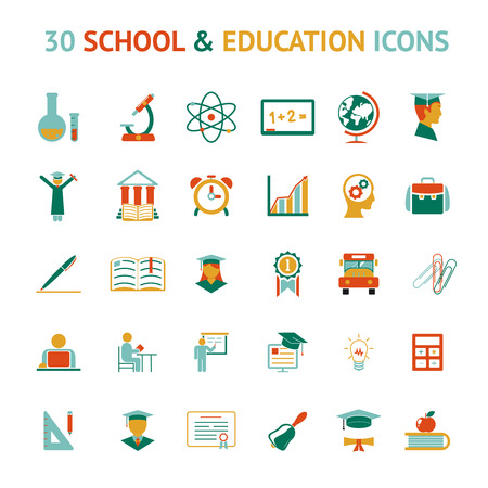 yearbook: vector set of 30 school and education icons Illustration