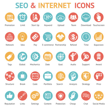refund: Large set of 40 different SEO and internet icons on colurufl round web buttons each labeled as to its meaning with text below   vector illustration