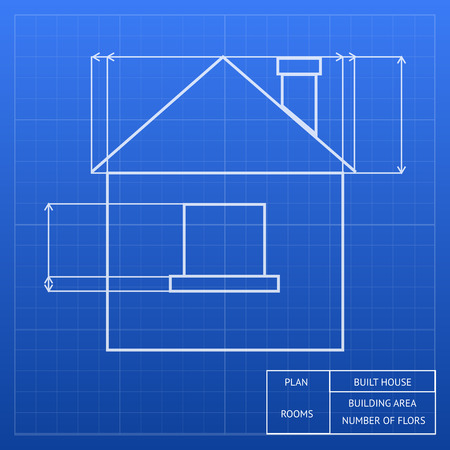 ownership equity: Architectural blueprint of a house design showing an exterior elevation with window and roof heights and measurements  vector inforgraphic template