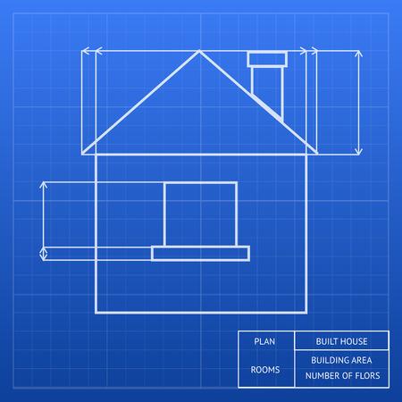 Architecturale blauwdruk van een huis ontwerp die een exterieur hoogte met raam en het dak hoogtes en metingen vector inforgraphic template