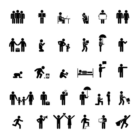 couple in bed: Vector people icons in various poses. Family, love and interaction