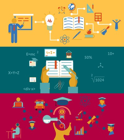 education and learning banners concept, acquisition of knowledge and accumulation of experience Vector